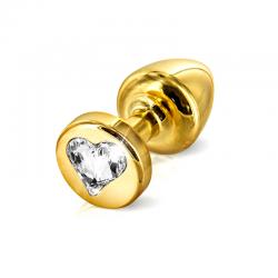 Анальная пробка со стразом в виде сердца - Anni R Heart Cristal, цвет: золотой