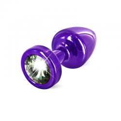 Анальная пробка с черным кристалом - Anni Round, цвет: фиолетовый