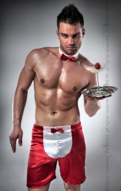 Красное и белое - Мужской ролевой костюм - 019 SHORT red, цвет: красный