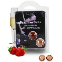 Набор шариков с массажным маслом 2 STRAWBERRY AND SPARKLING WINE BRAZILIAN BALLS SET