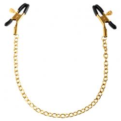 Взволнует желание ещё больше - Зажимы для сосков FF Gold Chain Nipple Clamps, цвет: золотистый