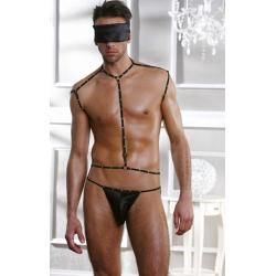 Эротический мужской комплект: маска, портупея и стринги,цвет: черный