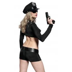 Костюм полицейской для ролевых игр: платье,пояс,чокер,цвет: черный