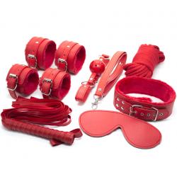 Красная коллекция страсти - Набор для БДСМ-игр из эко-кожи, цвет: красный