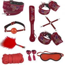 Раскрепощенный красный - Кожаный набор для БДСМ-игр, цвет: красный
