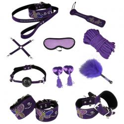 Изысканные пристрастия - Кожаный набор для БДСМ-игр, цвет: фиолетовый