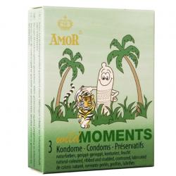 Одновременно и ребристые и пупырчатые презервативы AMOR wild Moments, 3 шт.
