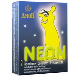 Светящиеся в темноте презервативы Amor Neon, 2 шт.