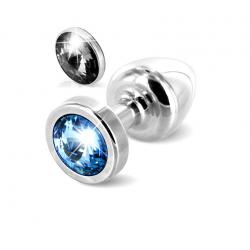 Анальная пробка со сменными стразами - Anni Magnet Silver,  цвет: серебристый