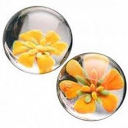 Стекляные вагинальные шарики с цветком внутри, цвет: прозрачный