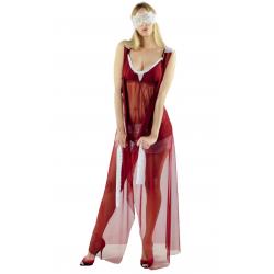 Длинный халат без рукавов в пол L, цвет: бордовый