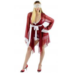 Сексуальный халатик до колена с кружевными рукавами и поясом, цвет: бордовый