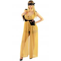 Длинный халат без рукавов с черным кружевным поясом, цвет: бежевый