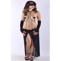 Сексуальное платье с цепью, цвет: черный