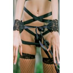 Комплек в стиле БДСМ - маска, трусики, наручники, цвет: черный