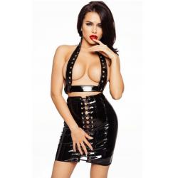 Лакированная юбка со шнуровкой, цвет: черный