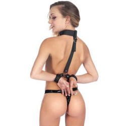 Фиксаторы для шеи и рук Fetish Tentation Neck and Wrist Straps с маской на глаза