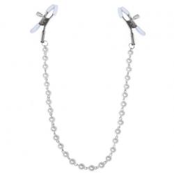 Зажимы для сосков с жемчугом Feral Feelings - Nipple clamps Pearls, цвет: серебристый