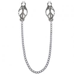 Зажимы для сосков с цепочкой Feral Feelings - Clover nipple clamps, цвет: серебристый