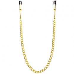 Тонкие зажимы для сосков с цепочкой Feral Feelings - Chain Thin nipple clamps, цвет: золотистый