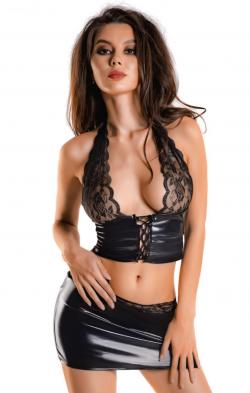 Комплект Glossy Gigi из материала Wetlook, цвет: черный