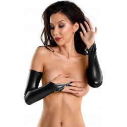 Перчатки Glossy из материала Wetlook, цвет: черный