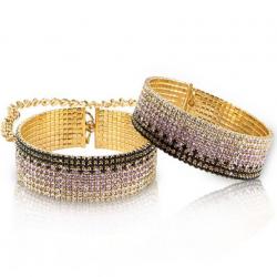 Лакшери наручники-браслеты с кристаллами Rianne S: Diamond Cuffs, цвет: золотистый