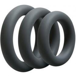 Набор эрекционных колец Doc Johnson OptiMALE 3 C-Ring Set Thick, цвет: серый
