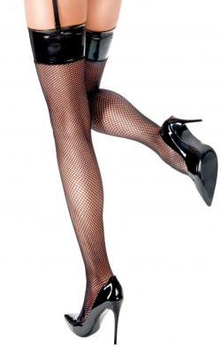 Чулки сетка с виниловым верхом Anne De Ales Domina, цвет: черный