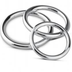Набор эрекционных колец Sinner Gear Unbendable - Cock/Ball Ring & Glans Ring Set, цвет: серебристый