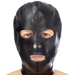 Капюшон для БДСМ с открытыми глазами и ртом Fetish Tentation Open mouth and eyes BDSM hood, цвет: че