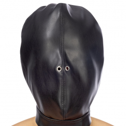 Капюшон для БДСМ Fetish Tentation Closed BDSM hood in leatherette, цвет: черный
