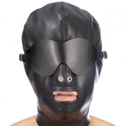 Капюшон для БДСМ со съемной маской Fetish Tentation BDSM hood in leatherette with removable mask, цв