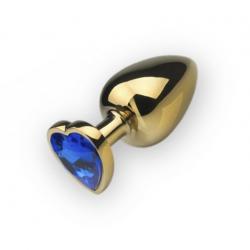 Анальная пробка,Gold Heart Sapphire